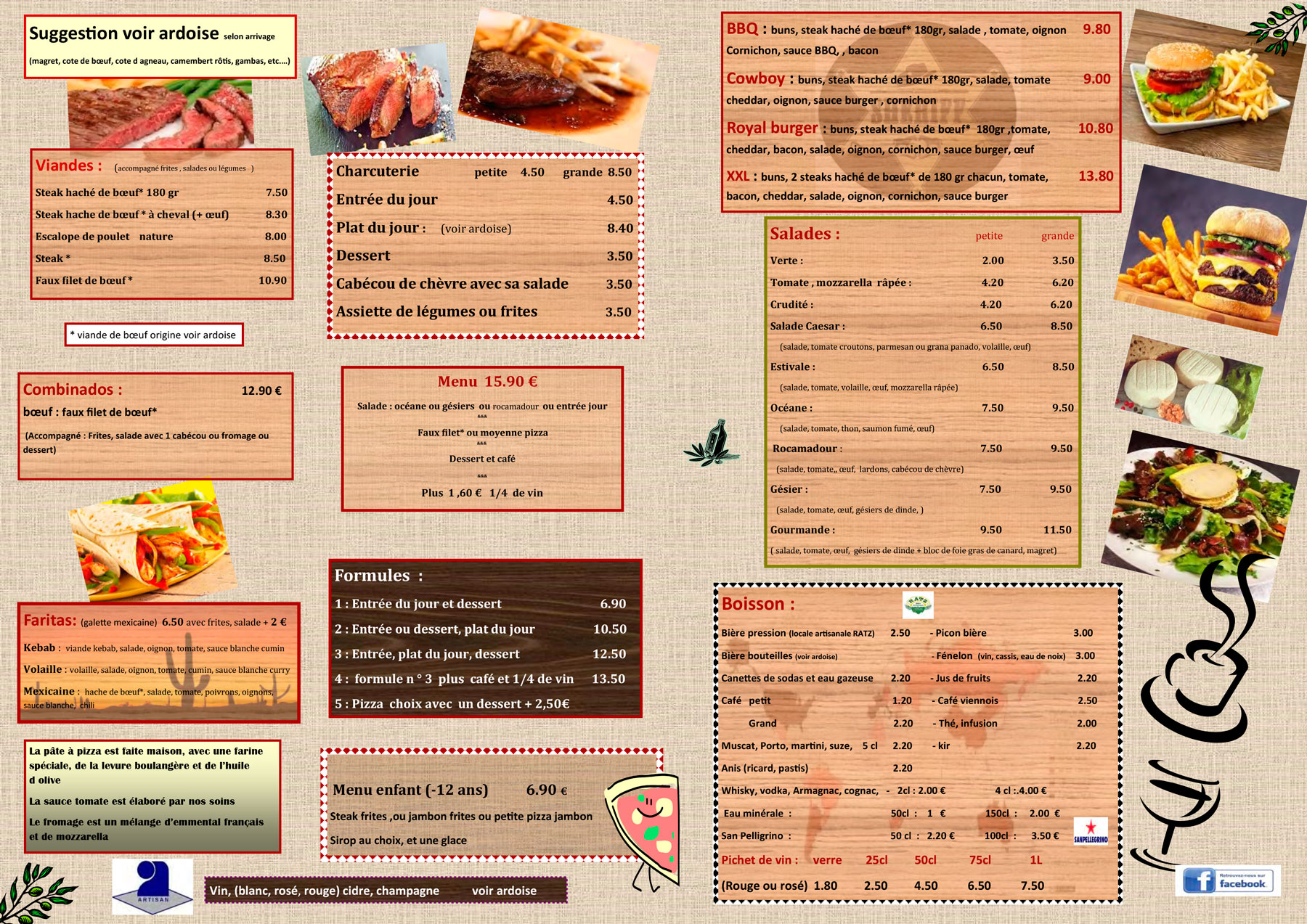 menu pizza plat restaurant cahors